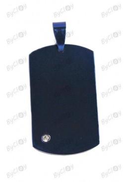 Piastrina misura grande blu/nera con cristallo