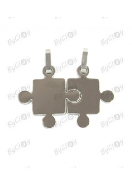 Ciondolo in acciaio divisibile a puzzle silver
